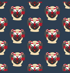 pug in christmas glasses seamless pattern vector image