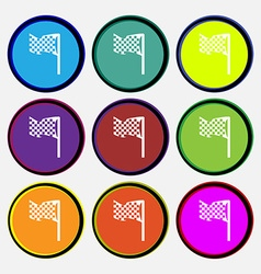 Racing flag icon sign Nine multi colored round vector