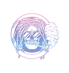 Rastafarian isolated skull with dreadlocks vector