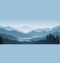 realistic mountains landscape morning wood vector image