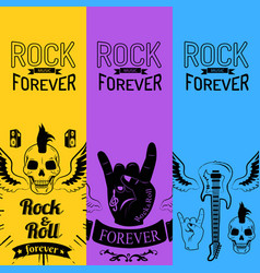 Rock music forever collection of colorful posters vector