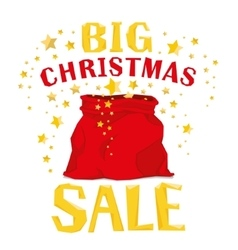 Santa Claus bag with big christmas sale vector image