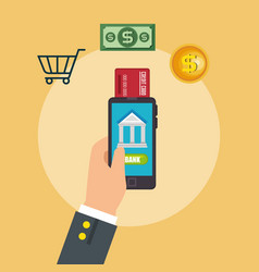 save money on line with smartphone vector image