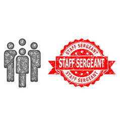 Scratched staff sergeant stamp seal and linear vector