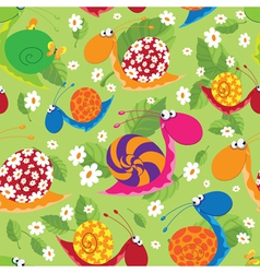 seamless snails with flowers and leaves vector image