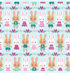 seamless with rabbits vector image