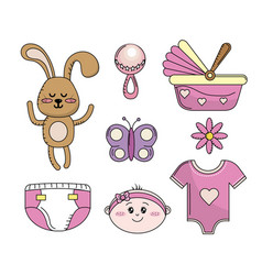 Set baby shower girl tools elements vector