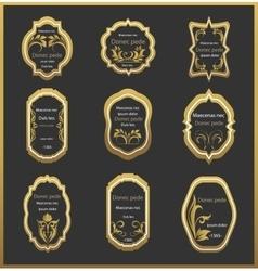 Set emblem with floral ornaments vector image