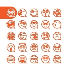 Set of emoji speech bubble emoticons vector image