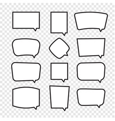 Set of rectangle comic speech bubbles vector