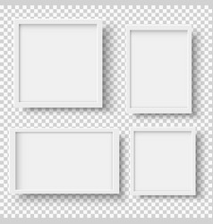 set realistic empty white picture frames vector image