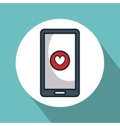 smartphone with heart app vector image