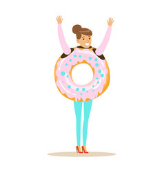 smiling woman wearing donut costume fast food vector image