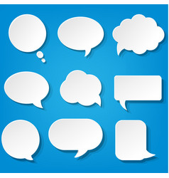 Speech bubbles set with blue background vector