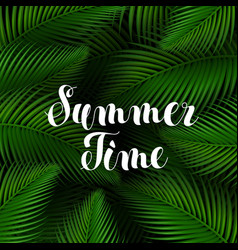 summer time lettering poster realistic trendy vector image