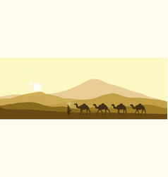 the brown silhouette of the caravan in the desert vector image
