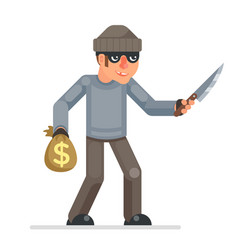 threat violence evil greedily thief stole money vector image