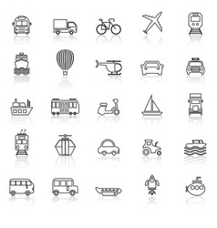 transportation line icons with reflect on white vector image