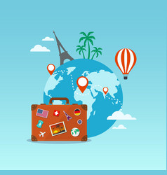 Travel suitcase with globe and icons vector