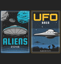 ufo aliens and outer space universe planets vector image