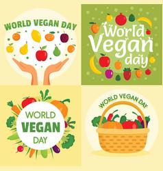 vegan day banner set flat style vector image