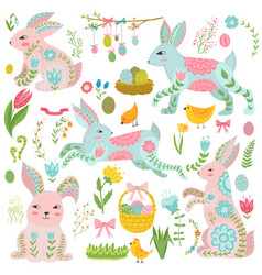 vintage elements set easter theme rabbits vector image