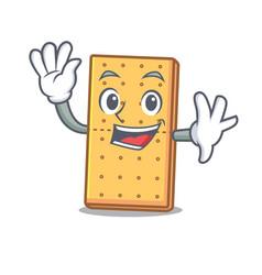 Waving graham cookies character cartoon vector