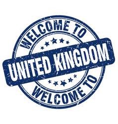 welcome to united kingdom blue round vintage stamp vector image