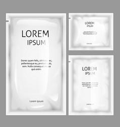 White blank sachet foil bag package mockup vector