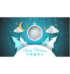 winter cartoon paper landscape fir moon cloud vector image