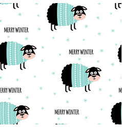 winter pattern with sheep isolated on white vector image