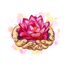Woman holding a lotus flower vector