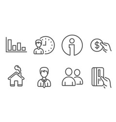 Working hours histogram and payment icons vector
