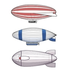Colorful airships zeppelins vector image vector image