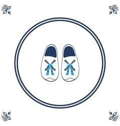 Dutch tile with cloggs - typical Dutch shoes vector image vector image