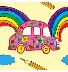 floral car pattern vector image