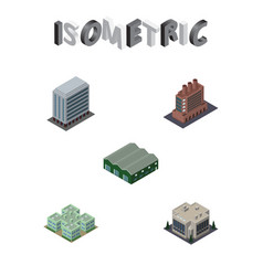 Isometric urban set of clinic company office and vector