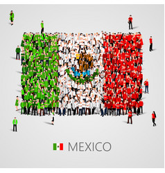 large group of people in the shape of mexican flag vector image vector image