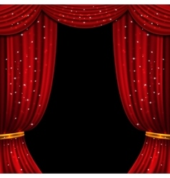 Red open curtain with glittering lights vector image vector image