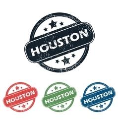 Round houston city stamp set vector