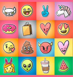 set of colorful emoticons emoji stickers vector image vector image