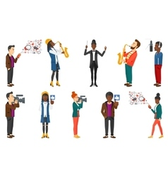set of media people and musicians vector image