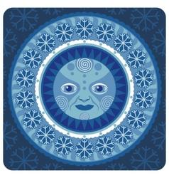 concentric decorative winter sun vector image vector image