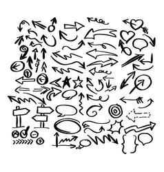 doodle arrow collection sketch vector image vector image