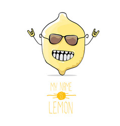 funny cartoon cute yellow lemon vector image