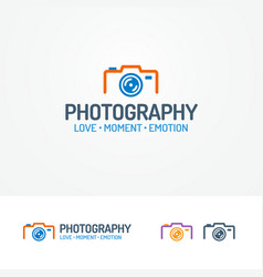 photography logo set with photocamera vector image vector image