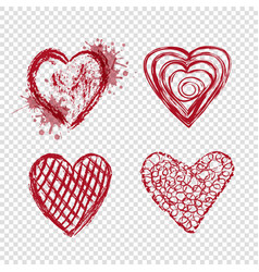 red hearts with blots and lines valentines day vector image vector image