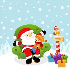Santa With Kid vector image vector image