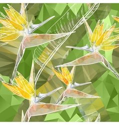 Seamless Floral Background with Bird of Paradise vector image vector image