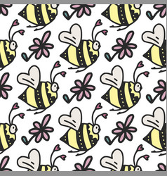 seamless pattern with cute little bees vector image